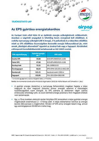 Az EPS gyártása energiatakarékos