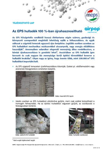 Az EPS hulladék 100 %-ban újrahasznosítható