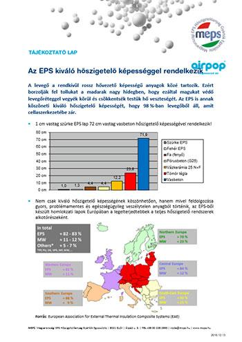 Az EPS kiváló hőszigetelő képességgel rendelkezik